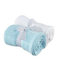 2 Pack Cellular Small Blanket - Blue & White
