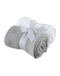 2 Pack Cellular Small Blanket - Grey & White
