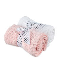 2 Pack Cellular Small Blanket - Pink & White
