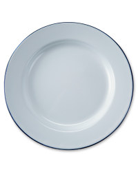 2 Pack Enamel Plates- White/Blue