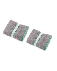 Crane 2 Pack Hand Towel - Grey and Mint