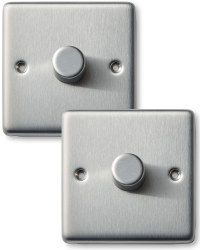2 x 1g Dimmer Switch - Steel