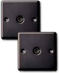 2 x Co-ax Socket - Black Nickel