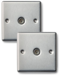 2 x Co-ax Socket - Stainless Steel