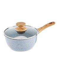 20cm Ceramic Saucepan With Lid - Grey