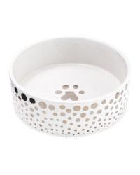 20cm Silver Ceramic Pet Bowl