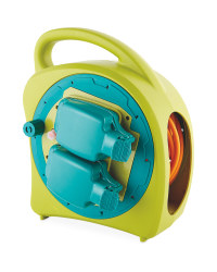 20m Weatherproof Cable Reel - Lime Green