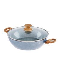 28cm Ceramic Wok With Lid - Grey