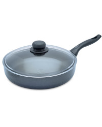 28cm Frying Pan with Glass Lid - Black