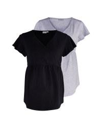 Black & Grey Maternity Shirt 2 Pack