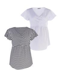 White & Black Maternity Shirt 2 Pack