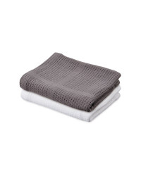 Lily & Dan Small Blanket 2 Pack - White / Dark Grey