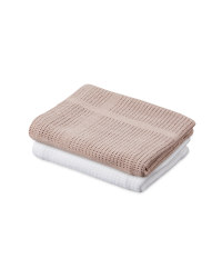 Lily & Dan Small Blanket 2 Pack - White / Natural Beige