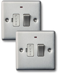 2x13amp Fuse Con Unit Double Steel
