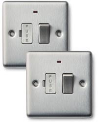 2x13amp Fuse Con Unit Double Steel