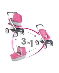 Quinny 3 In 1 Doll's Pram & Carrycot
