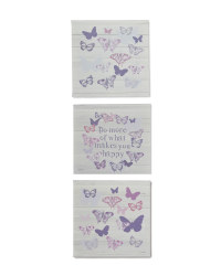 3 Pack Butterfly Canvases