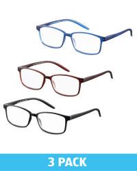 3 Pack Mens Square Glasses