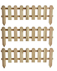 3 Pack Timber Picket Fence - Plain Tan