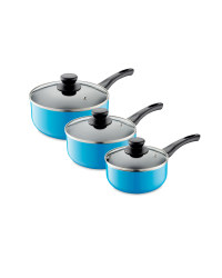 3-Piece Saucepan Set - Blue