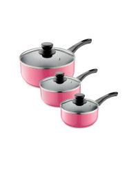 3-Piece Saucepan Set - Pink