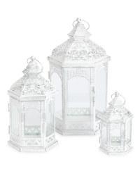 Kirkton House Metal Lantern 3 Pack - Cream/Silver