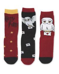 Harry Potter 3 Pack Dark Red Socks
