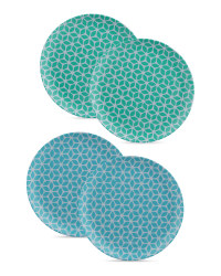 4 Pack Side Plate Teal and Blue