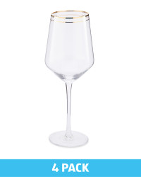 4 Pack Wine Glasses - Gold Trim