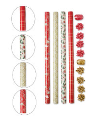 4 Roll Gift Wrap Set Chestnuts