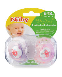 Pink Robot Soothers 2 Pack 6-18M