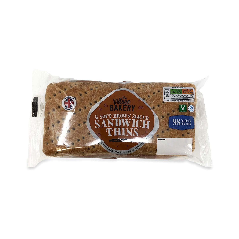 6 Soft Brown Sliced Sandwich Thins
