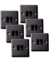 6x 2 Way Switch - Double - Black