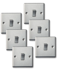 6x 2 Way Switch Single Steel