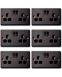 6x13amp Switched Socket Double Black