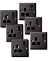 6x13amp Switched Socket Single Black