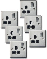 6x13amp Switched Socket Single Steel