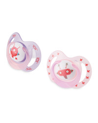 Nuby Pink Robot Soothers 6-18 Months