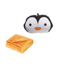 Children's Penguin Cushion & Blanket