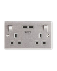 Brushed Steel USB Double Wall Socket