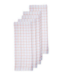 Peach Cotton Terry Tea Towel 5 Pack
