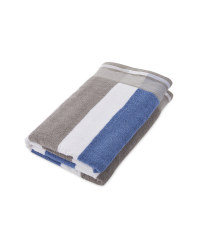 Blue/Grey Stripe Coastal Bath Sheet
