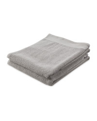 Plain Grey Hand Towel 2 Pack