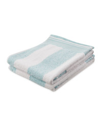 Aqua Stripe Hand Towel 2 Pack
