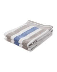 Blue/Grey Stripe Hand Towel 2 Pack