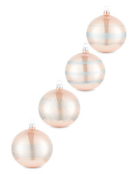 Blush Lined Glass Baubles 4 Pack