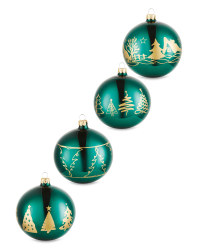 Emerald Tree Glass Baubles 4 Pack