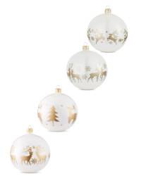 White Stag Glass Baubles 4 Pack