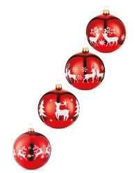 Red Stag Glass Baubles 4 Pack