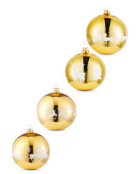 Gold Stag Glass Baubles 4 Pack